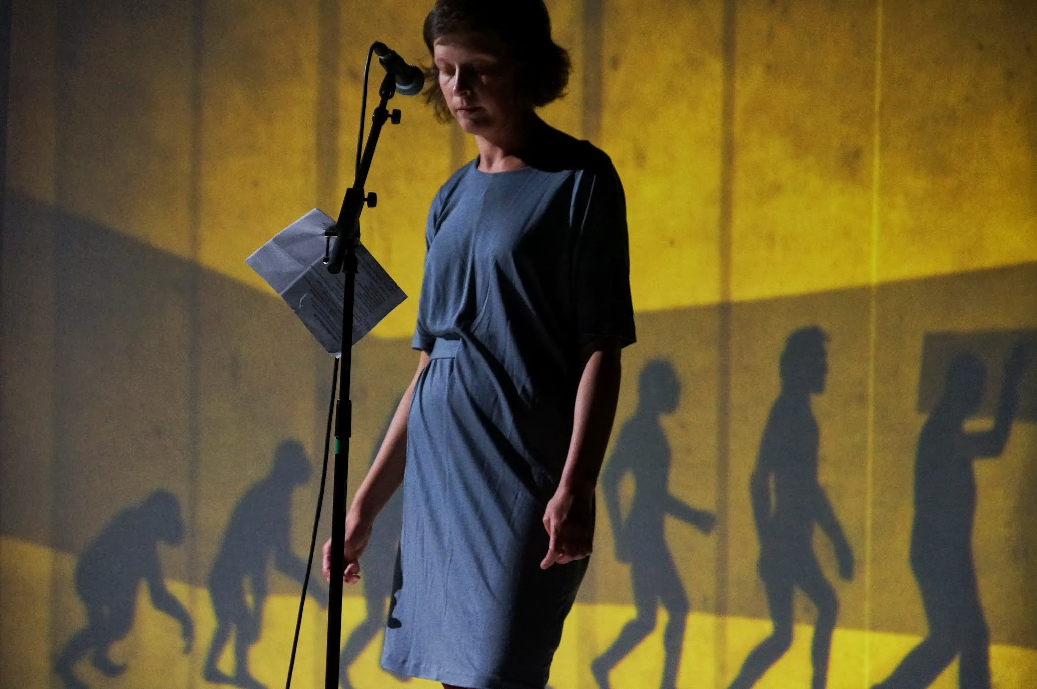 Performer Leentje Van de Cruys wearing a grey dress, stood at a microphone (The Good, the God, and the Guillotine).