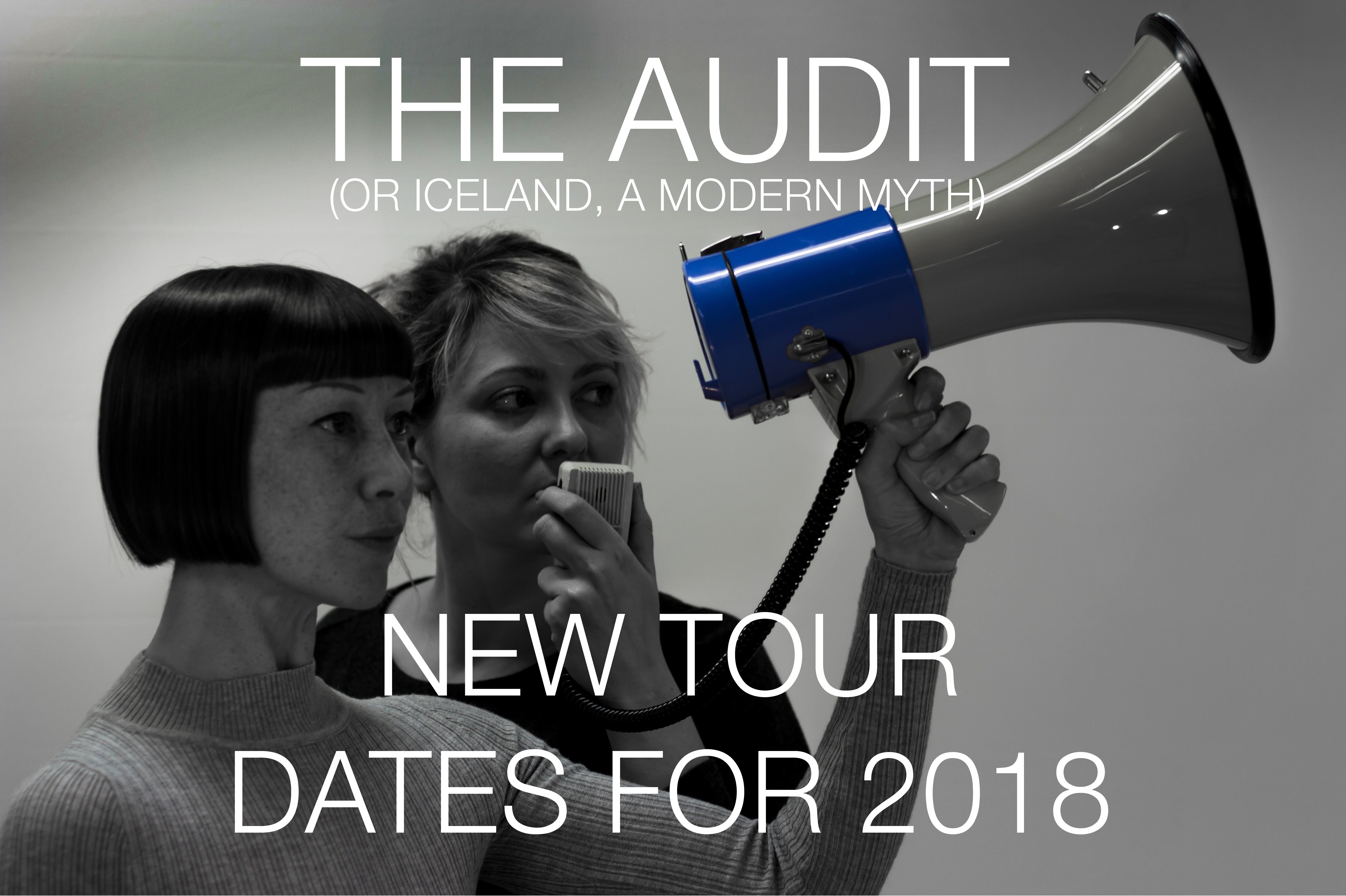 Main promo image for Proto-type Theater's 'The Audit (or Iceland, a modern myth)'. Two women stand side-by-side speaking into a blue loudhailer..