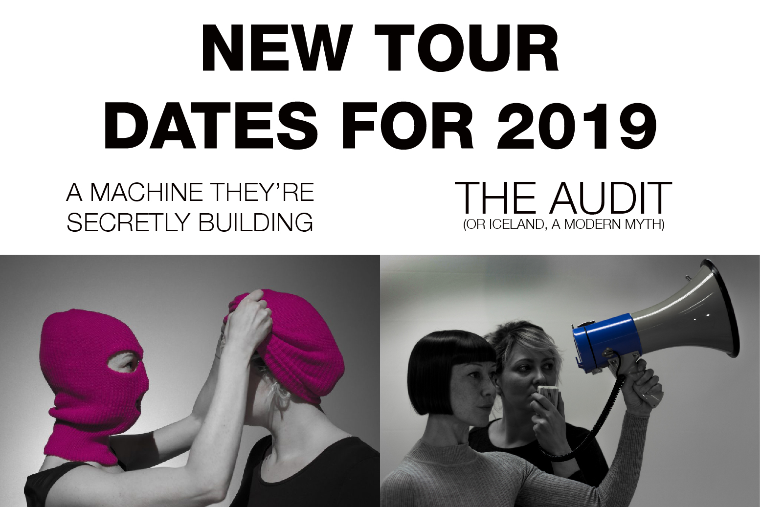 A poster for the 2019 tour of Proto-type Theater's The Audit & A Machine they're Secretly Building.